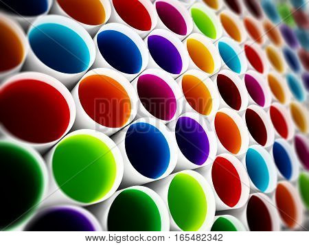 Multi colored plastic tubes background. 3D illustration.