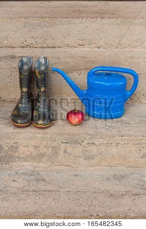 Rubber Boots With Pattern Red Apple And Small Blue Watering Can On Concrete Steps Outdoor. Copyspace.