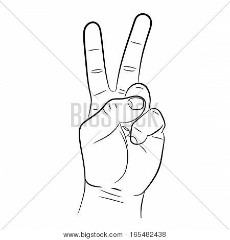 victory hand sign on white background of vector illustrations