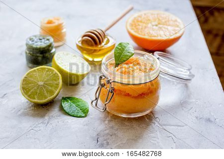 organic citrus scrub homemade on gray background.