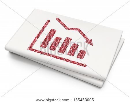 Finance concept: Pixelated red Decline Graph icon on Blank Newspaper background, 3D rendering