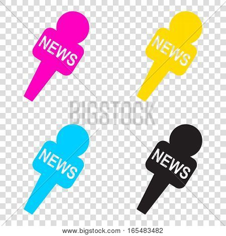Tv News Microphone Sign Illustration. Cmyk Icons On Transparent