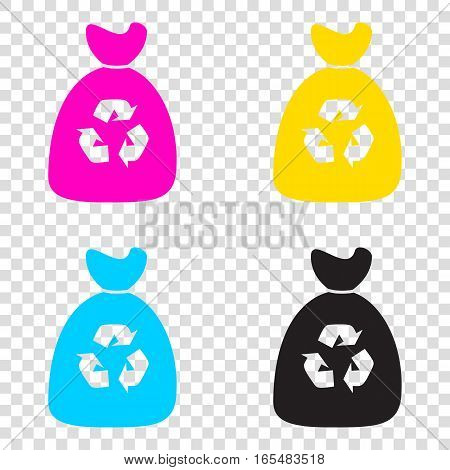 Trash Bag Icon. Cmyk Icons On Transparent Background. Cyan, Mage