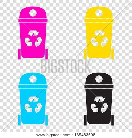 Trashcan Sign Illustration. Cmyk Icons On Transparent Background