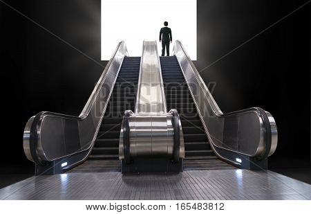 escalator lead businessman to a light , concept image