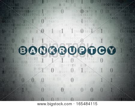 Finance concept: Painted blue text Bankruptcy on Digital Data Paper background with Binary Code