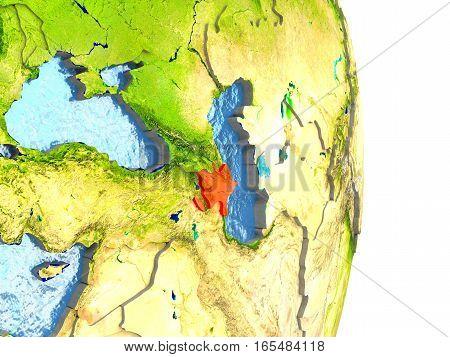 Azerbaijan In Red On Earth