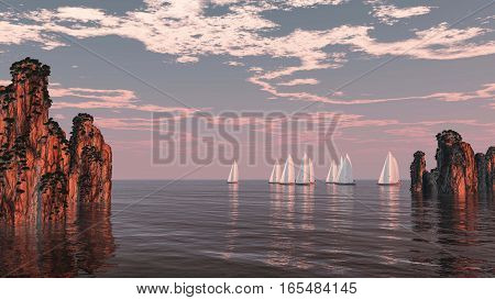 3d illustration sea racing with yachts cliffs and clouds
