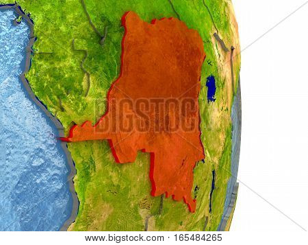Democratic Republic Of Congo In Red On Earth