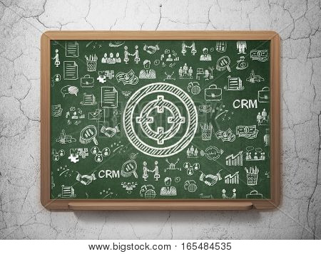 Business concept: Chalk White Target icon on School board background with  Hand Drawn Business Icons, 3D Rendering