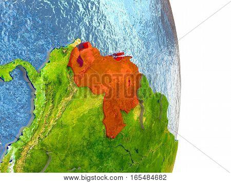 Venezuela In Red On Earth