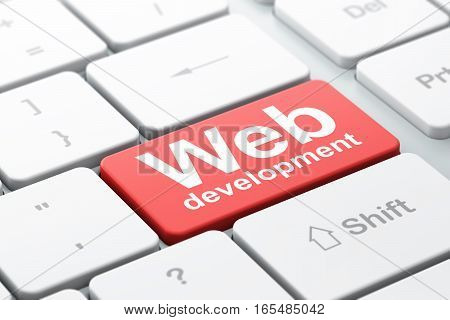 Web design concept: computer keyboard with word Web Development, selected focus on enter button background, 3D rendering