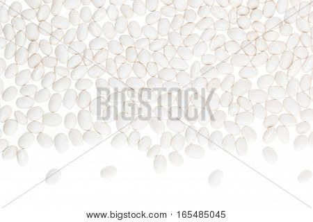 Border of white kidney beans closeup with copy space on white background. Isolated. Healthy protein food.