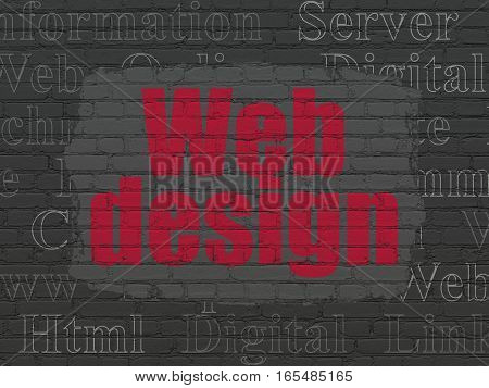 Web design concept: Painted red text Web Design on Black Brick wall background with  Tag Cloud
