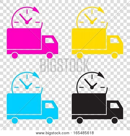 Delivery Sign Illustration. Cmyk Icons On Transparent Background