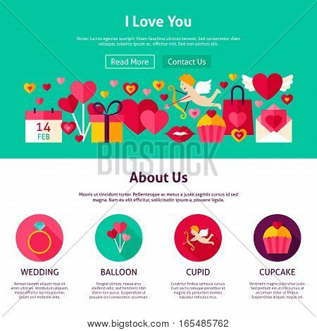 Website Design I Love You. Flat Style Vector Illustration for Web Banner and Landing Page. Valentines Day Holiday.