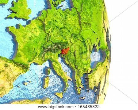 Slovenia In Red On Earth