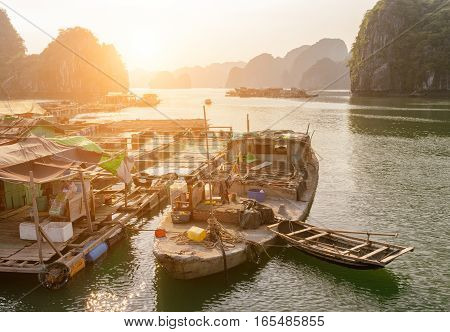 Scenic Floating Fishing Village In The Ha Long Bay, Vietnam