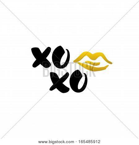 Xoxo Kiss Handwritten Lettering. Vector Illustration of Calligraphy Love Design Element.
