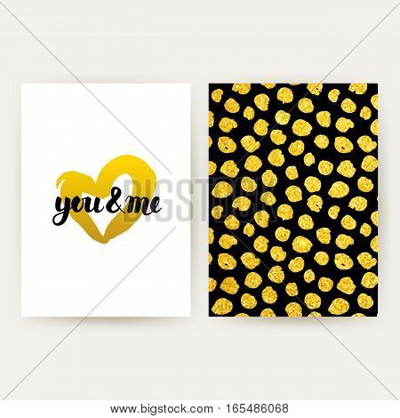 You and Me Retro Posters. Vector Illustration of Gold Pattern Design with Handwritten Lettering.