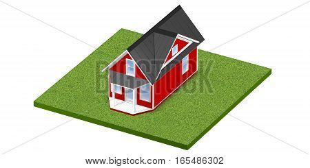 3D rendered illustration of a tiny home on a square grassy plot of land or yard.  Isolated over white background.
