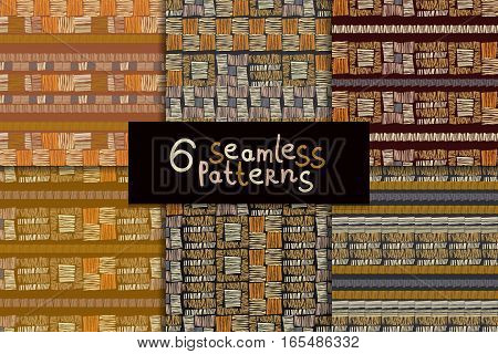 Geometric hand drawn tribal seamless pattern set. Brown striped abstract backgrounds. Ethnic vector ornaments.