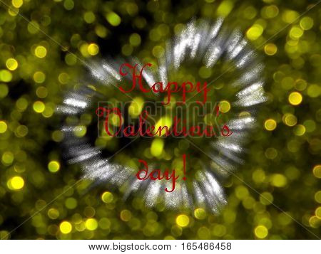 """beautiful heart on a yellow background with the words """"happy Valentine's day"""""""