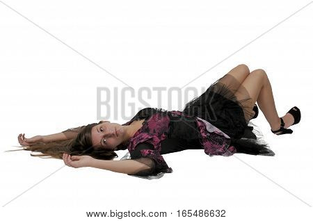 Young woman in a short dress laying down