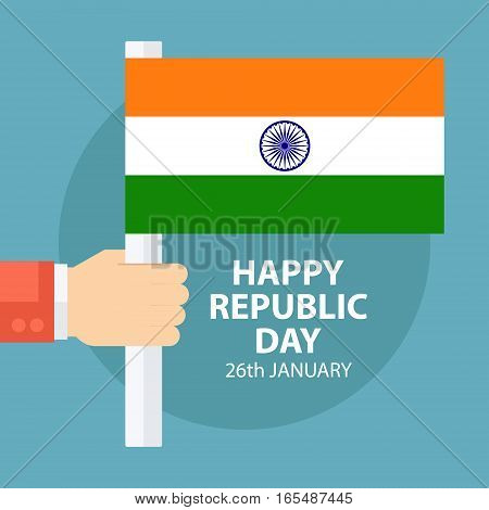 Indian Republic Day greeting card with male hand holding Indian flag. Vector illustration.