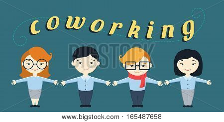 Vector illustration of four office workers and text