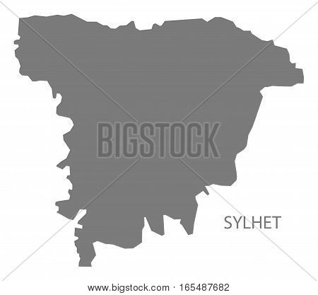 Sylhet Bangladesh Map in grey silhouette illustration