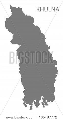 Khulna Bangladesh Map in grey silhouette illustration