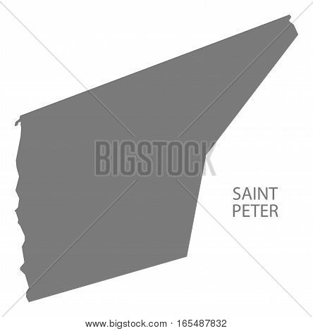 Saint Peter Barbados Map in grey illustration silhouette