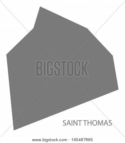 Saint Thomas Barbados Map in grey illustration silhouette