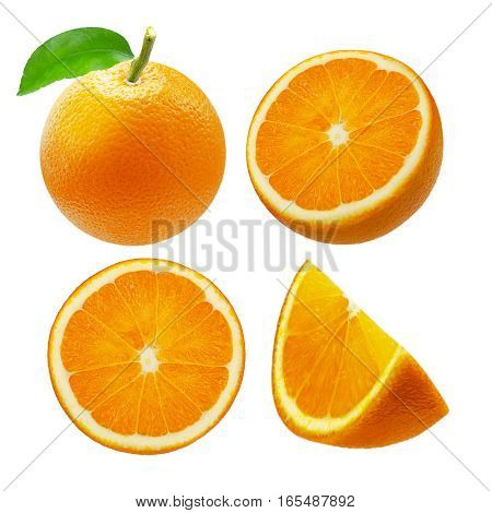 Collection of whole and sliced orange fruits isolated on white background.
