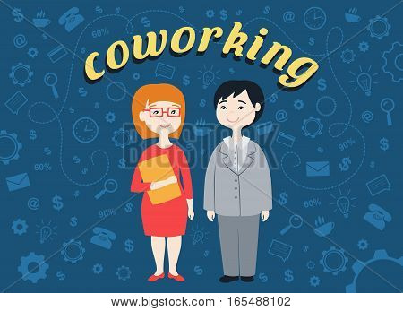 Flat design vector illustration of two office workers. Human resource concept