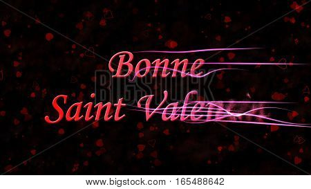 "Happy Valentine's Day Text In French ""bonne Saint Valentin"" Turns To Dust From Right On Dark Backgro"