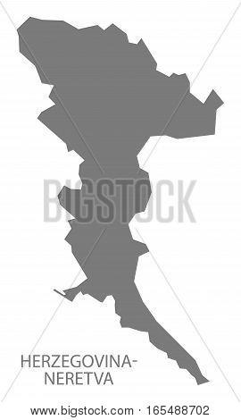 Herzegovina-neretva Bosnia And Herzegovina Map Grey