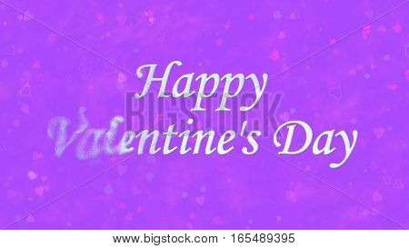 Happy Valentine's Day Text Turns To Dust From Left On Purple Background