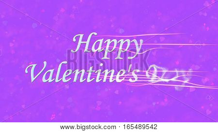 Happy Valentine's Day Text Turns To Dust From Right On Purple Background