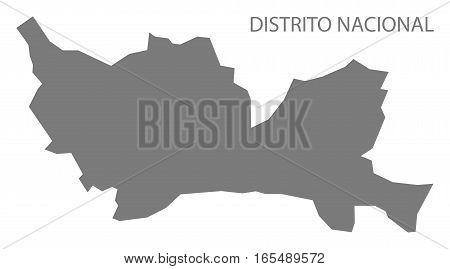 Distrito Nacional Dominican Republic Map Grey