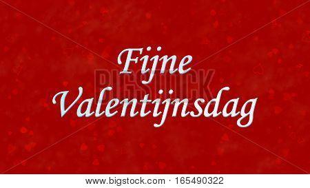 """Happy Valentine's Day Text In Dutch """"fijne Valentijnsdag"""" On Red Background"""