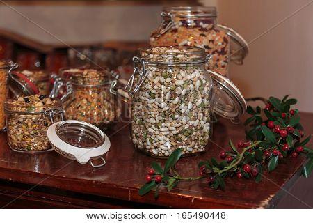 Colorful Legumes Inside Glass Jars