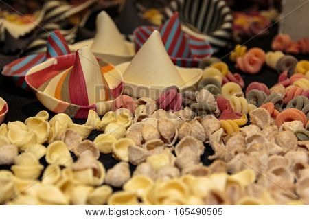 Colorful Italian Uncooked Pasta Assortment On Table