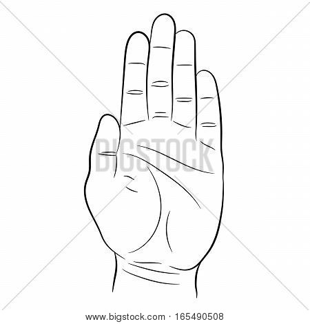 palm and the hand the stop signal on white background of vector illustrations