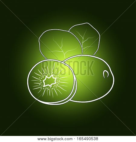 Image Kiwifruit in the Contours Chinese gooseberry on a Dark Green Background