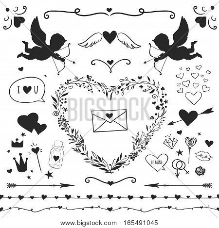 set of romantic elements for Valentine's day, vector decorative elements isolated on white