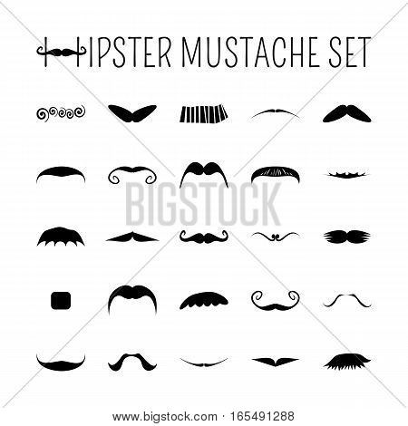 moustache icons set for retro design. Black objects isolated on white background. Vector illustration