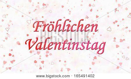 """Happy Valentine's Day Text In German """"frohlichen Valentinstag"""" On Light Background"""