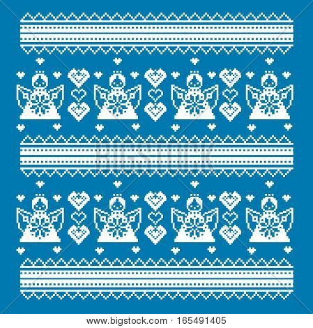 ethnic cross-stitch ornament. Vector illustration. From collection of Balto-Slavic ornaments. style Valentine s Day. Angels and hearts.